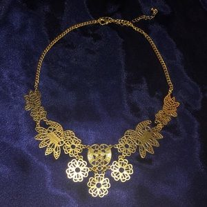 Gold Hollow Flower Lace Vintage Collar Necklace